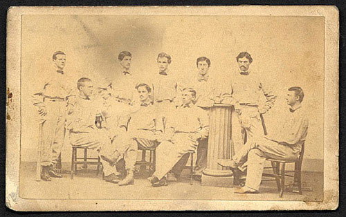 Carte de visite of the 1866 Harvard baseball team