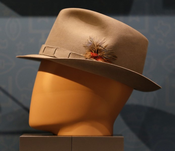 """This fedora was worn by Tom Landry during the famous """"Hail Mary"""" playoff game against Minnesota in 1975. It is part of Bob Bragalone's Dallas Cowboys collection that is in the Perot Museum this summer."""