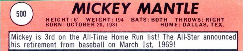 Mickey Mantle 1969 Topps 500