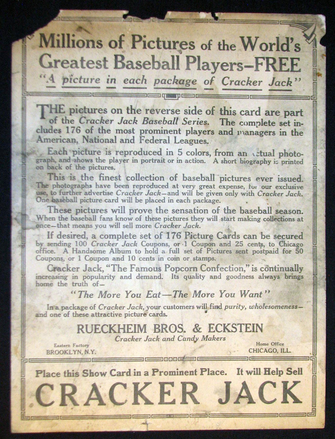 Back of 1915 Cracker Jack baseball card poster