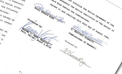 Pete Rose banishment document