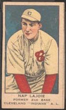 1919 W514 strip card Nap Lajoie