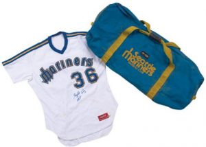 Game used Gaylord Perry jersey equipment bag