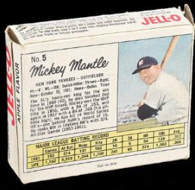 Mickey Mantle Jello box 1962