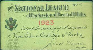 1923 Calvin Coolidge National League season pass