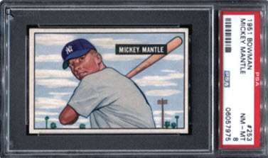 Mickey Mantle rookie card PSA 8