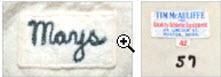 Jersey tag McAuliffe 1957 Willie Mays