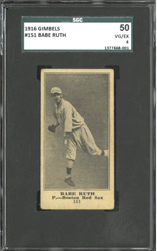 Babe Ruth Gimbels 1916 rookie card