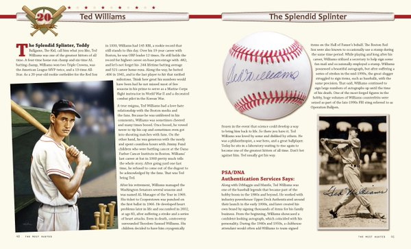 Ted Williams 100 Greatest Baseball Autographs book