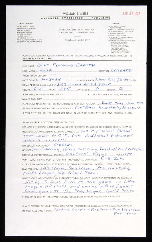 Gary Carter Questionnaire