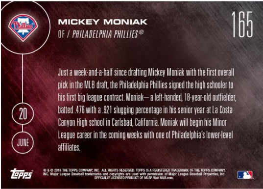 Mickey Moniak Topps NOW back