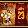 Autographed LeBron James jersey collage