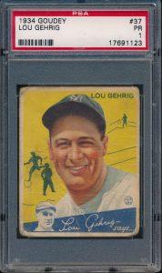 1934 Goudey Yellow Gehrig