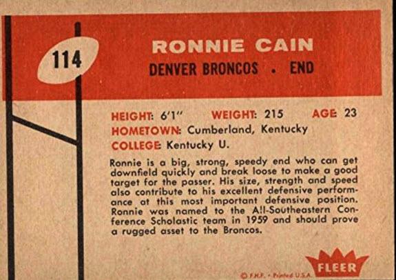 1960 Fleer Ron Cain back