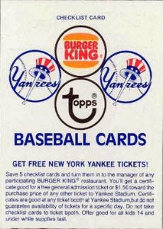 Burger King Yankees 1977 baseball card checklist