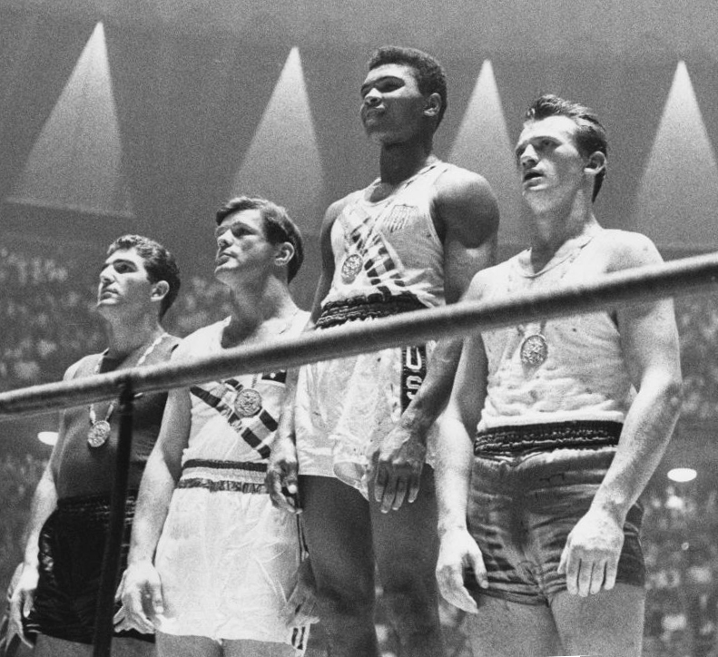 Cassius Clay 1960 Olympic gold medal ceremony