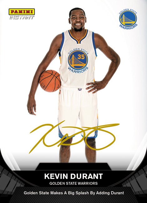 Kevin Durant Panini Instant Golden State Warriiors card