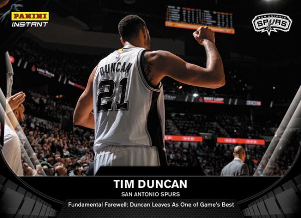 Tim Duncan retirement card Panini Instant
