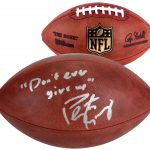Peyton Manning Never Give Up Signed Football