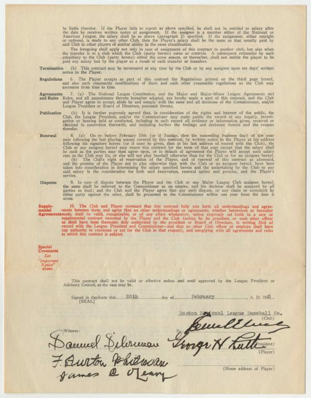 1935 Babe Ruth contract