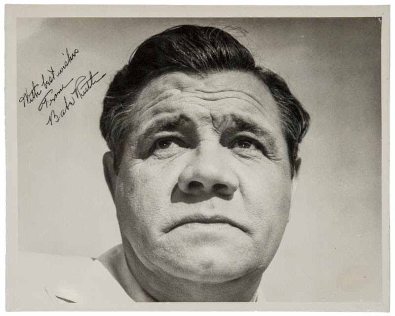 Babe Ruth autographed photo 11x14