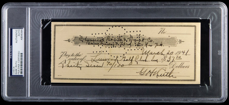 Signed check Babe Ruth