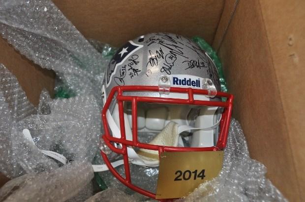 Signed New England Patriots helmet stolen