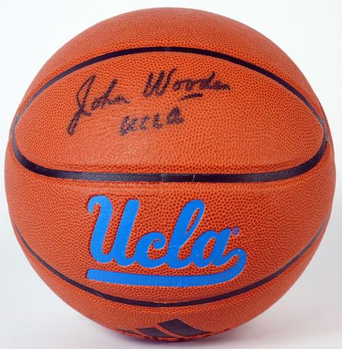 Signed John Wooden basketball