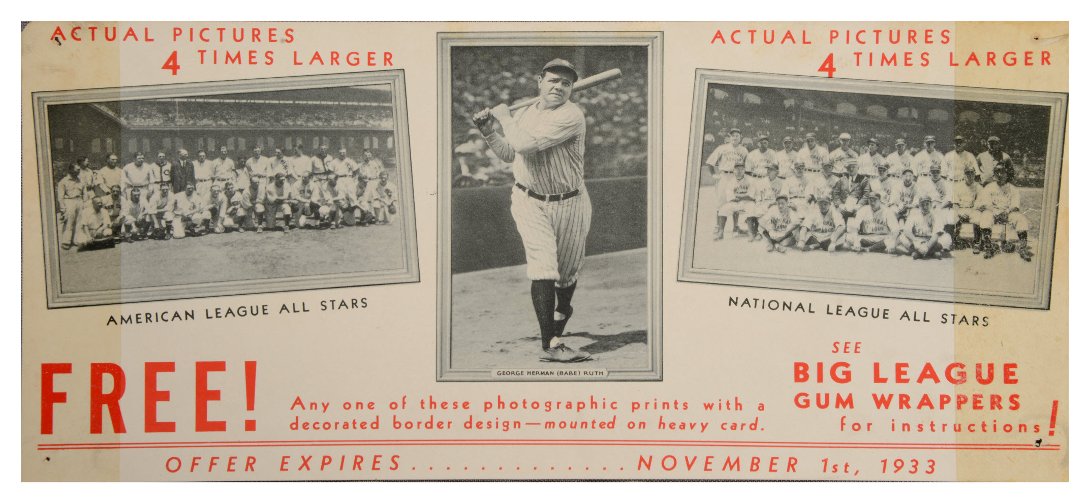 1933 Goudey R309-1 advertising sign