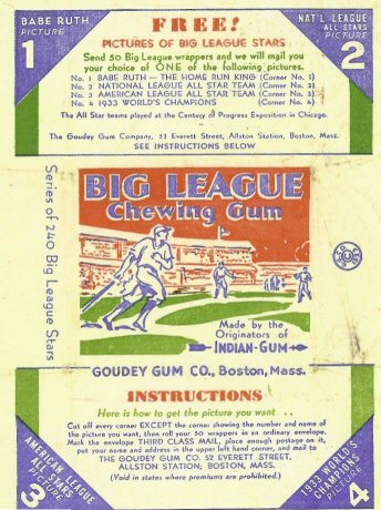 Goudey 1933 baseball card wrapper