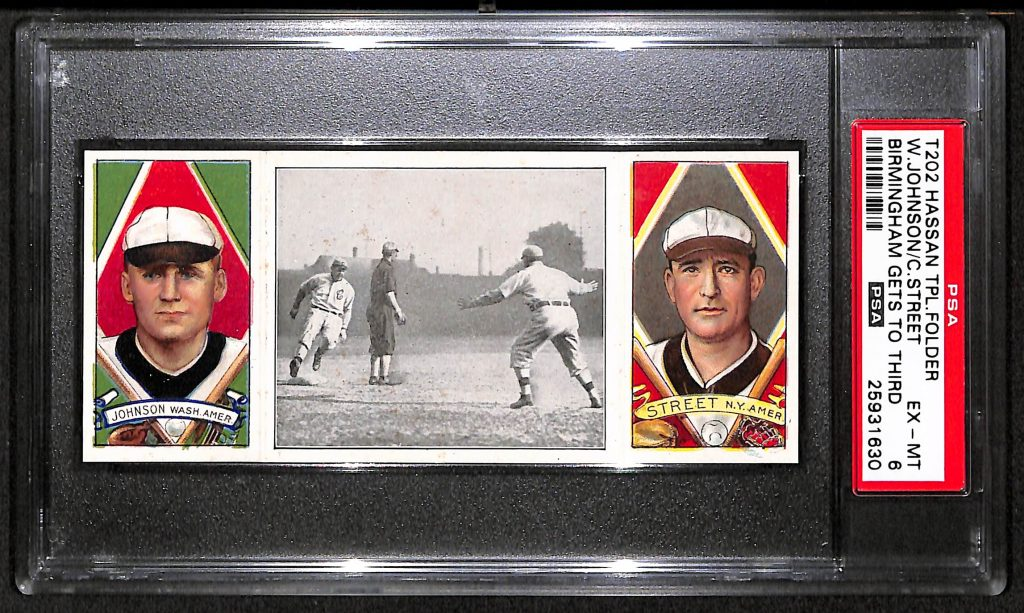 Walter Johnson 1912 T202 Hassan Triple Folders
