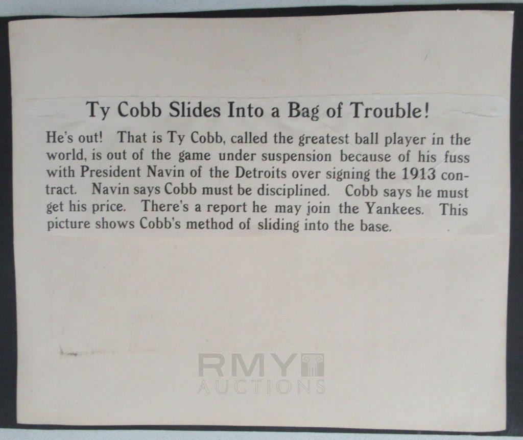 1913 Ty Cobb photo back