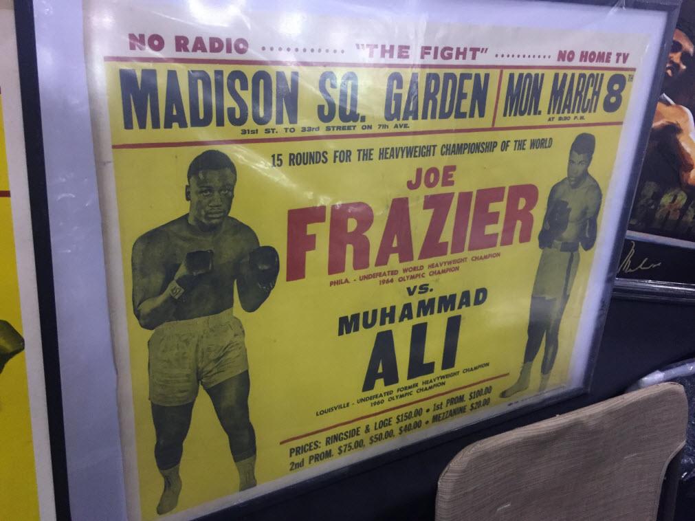 Cardboard sign Ali Frazier