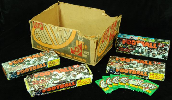 Topps 1974 football case boxes packs