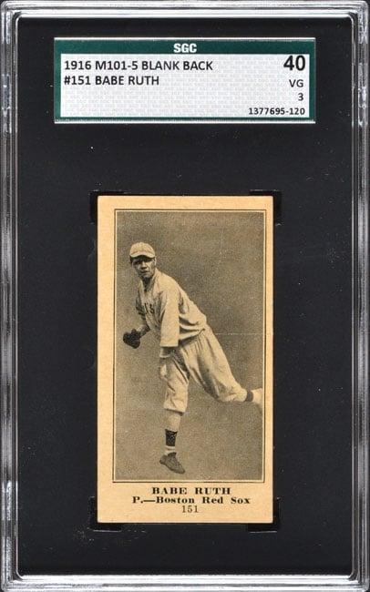 1916 M101-5 Babe Ruth SGC 40