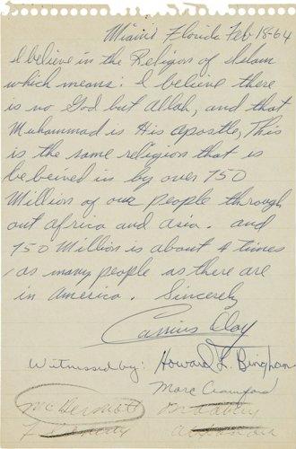 1964 Cassius Clay Islam conversion letter LIFE Magazine