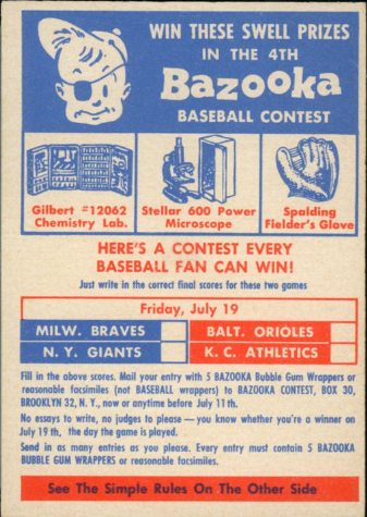 Bazooka contest card 1957 Topps
