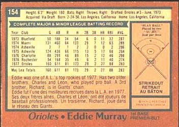 1978 OPC Eddie Murray back