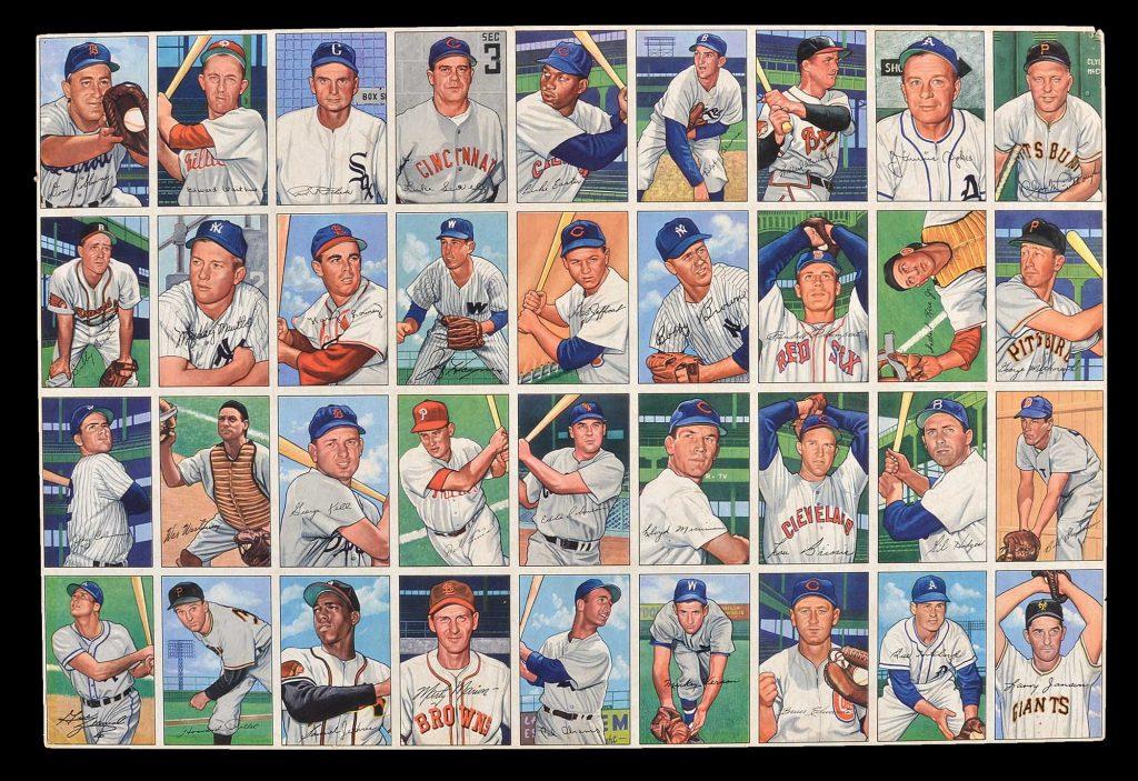 Uncut sheet 1952 Bowman baseball cards