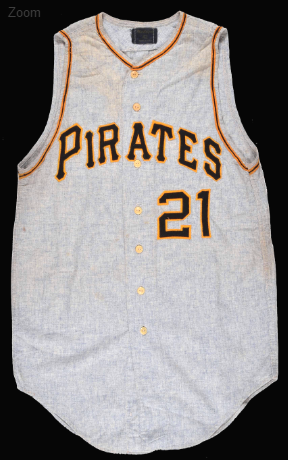Game-used Roberto Clemente road jersey