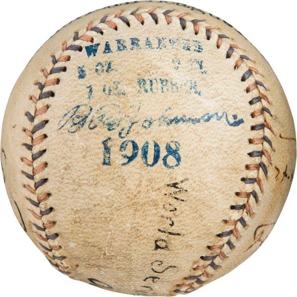 1908 World Series used baseball Cubs vs Tigers