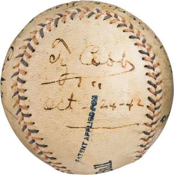 Ty Cobb autograph 1908 World Series ball