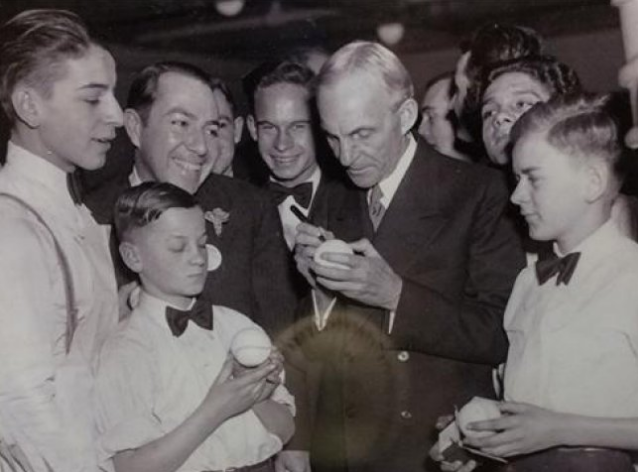 1933 Ford safety glass exhibit Henry Ford signing baseballs