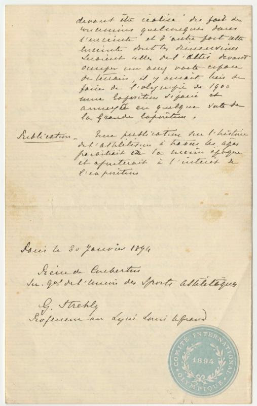 1894 Olympic games document
