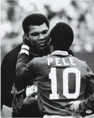 Autographed Pele Muhammad Ali photo
