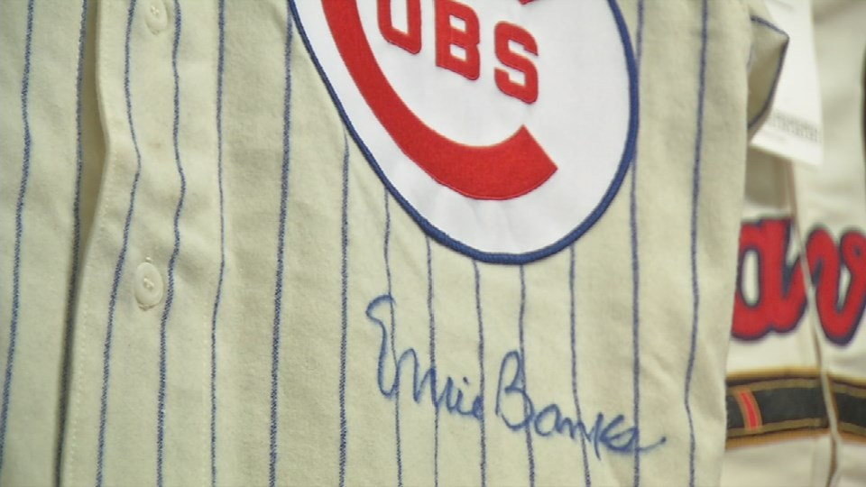 Ernie Banks autographed game-worn jersey
