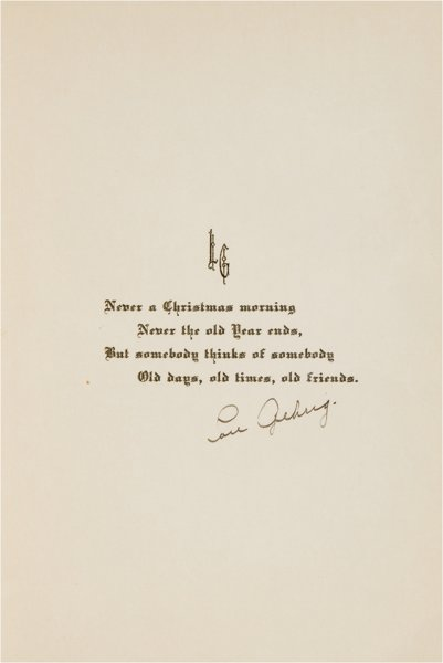Holiday greeting card autographed Lou Gehrig