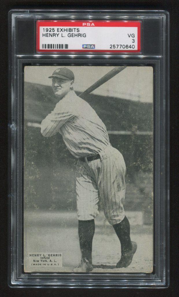Lou Gehrig rookie card 1925 Exhibit