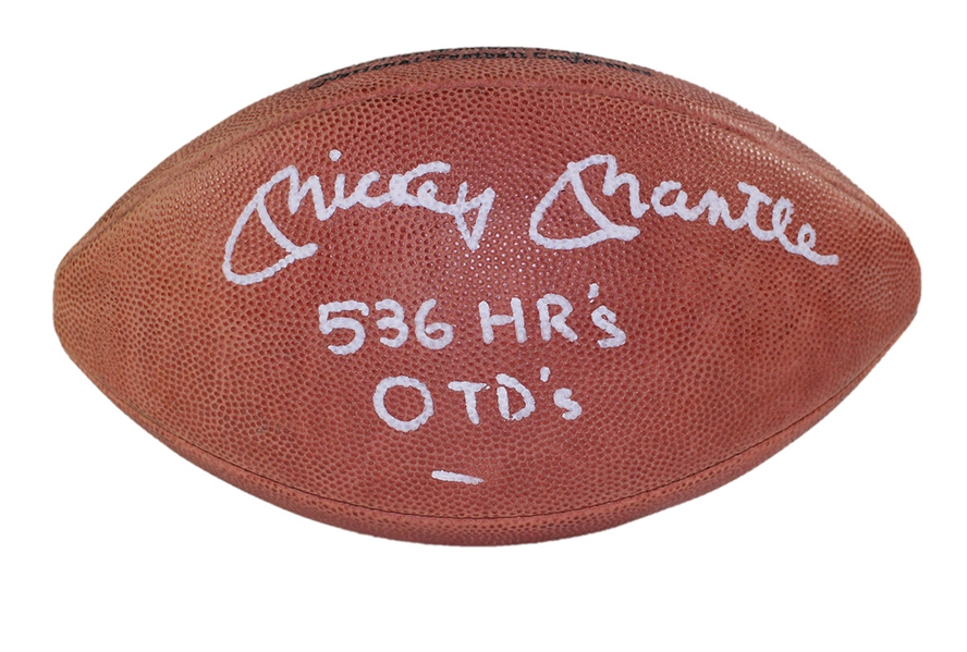 Autographed Mickey Mantle football