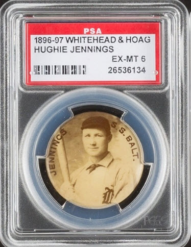 Hughie Jennings 1897 On Time Starch pin
